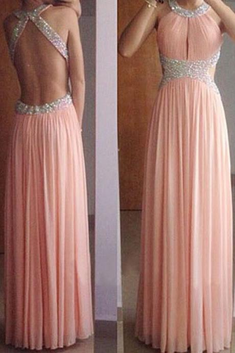 Prom Dress,Coral Prom Dresses,Open Back Chiffon Beaded Long Prom dresses,Custom Made Prom Dress,Long Elegant Prom Dresses,2016 Prom Dresses,Prom Dresses