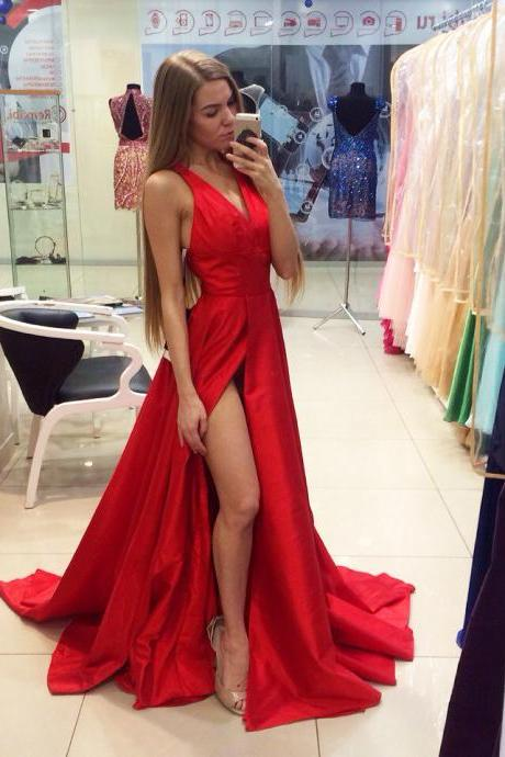 Prom Dress,Red Prom Dresses,Sexy Side Split V Neck Prom dresses,Custom Made Prom Dress,Long Elegant Prom Dresses,2016 Prom Dresses,Prom Dresses