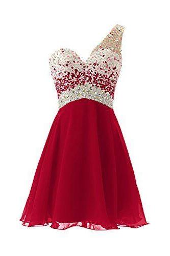Short Prom Dress, Short Prom Gowns,Burgundy One Shoulder Short Prom Dress, Burgundy Homecoming Dresses