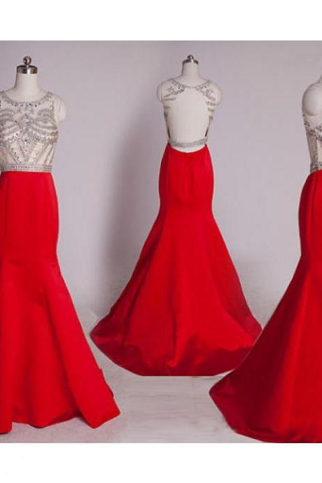Prom Dress,Sexy Red Prom Dress,Mermaid Prom dresses,Custom Made Prom Dress, satin Prom Dresses,Long Elegant Prom Dresses,2016 Prom Dresses,Prom Dresses