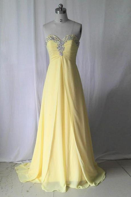 prom dresses,Sweetheart Prom Dresses, Cheap prom dress,Yellow Prom Dresses,long elegant prom dresses,Prom Dress,Party Dress. Evening Dresses