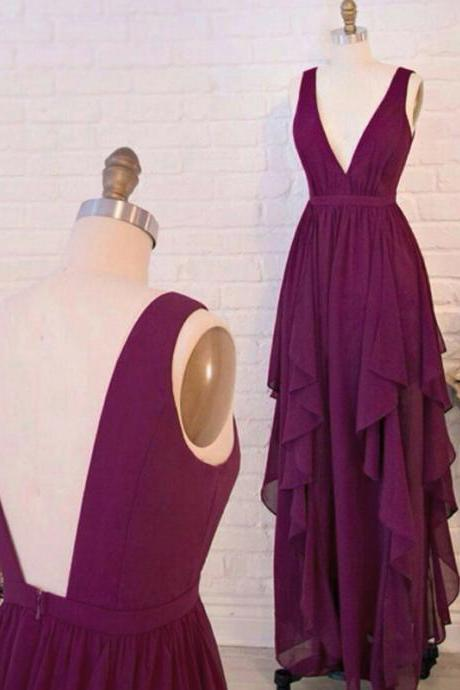 prom dresses,V Neck Prom Dresses,Backless Prom dress,Purple Red Prom Dresses,long elegant prom dresses,Prom Dress,Party Dress. Evening Dresses