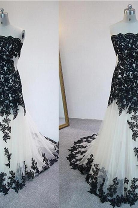 prom dresses,Mermaid Prom Dresses,Strapless Prom dress,White Prom Dresses With Lace Appliques,long elegant prom dresses,Prom Dress,Party Dress. Evening Dresses