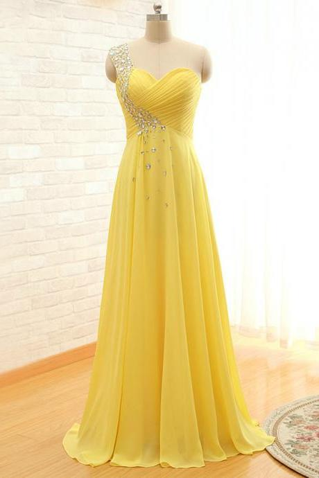 Prom Dress,One Shoulder Prom Dress,Yellow Prom dresses,Custom Made Prom Dress, Vintage Prom Dress,Long Prom Dresses,2016 Prom Dresses