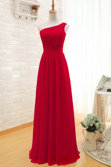 Prom Dress,One Shoulder Prom Dress,Red Prom dresses,Custom Made Prom Dress, Vintage Prom Dress,Long Prom Dresses,2016 Prom Dresses