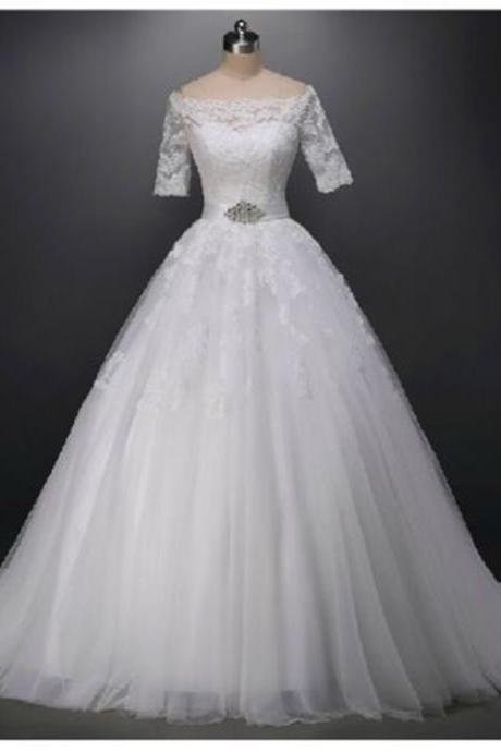 2016 Half Sleeve Wedding Dresses Floor Length Boat Neck Tulle Bridal Gown Lace-Up Back Chapel Train