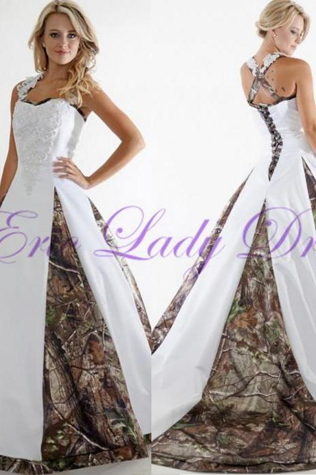 Wedding Dress, Camo Wedding Dress, White Wedding Dress, Satin Wedding Dresses,Vintage Wedding Dress,2016 Wedding Dresses