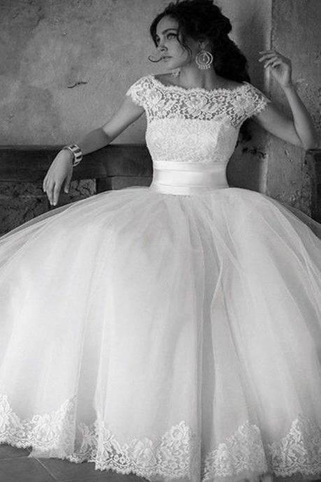 Wedding Dress,2016 Wedding Dresses,Cap Sleeve Wedding Dress,Scoop Wedding Dresses, Vintage Wedding Dresses,Wedding Gowns,Bridal Gown,White Wedding Dresses,
