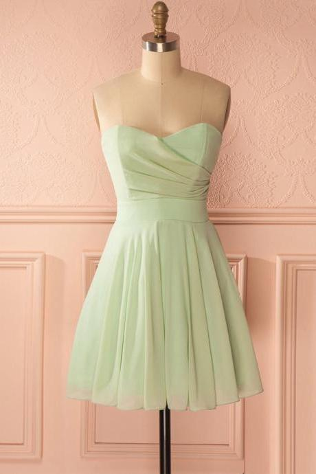 Short Prom Dress, Short Prom Gowns,Sage Green Prom Dress, Homecoming Dresses,Strapless Prom Dresses,Cheap Evening Gowns