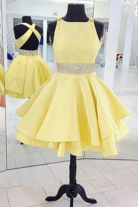 Short Prom Gowns Yellow Prom Dress Homecoming Dresses Graduation Dresses Mini Satin Strapless Prom Dresses