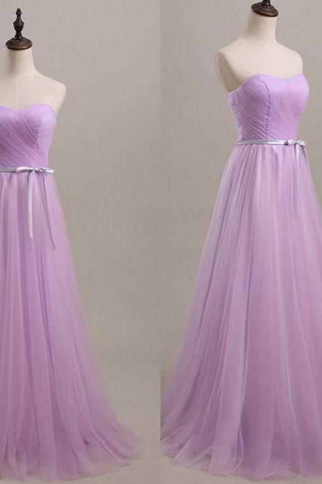 2016 Sweetheart Prom Dresses Long Elegant Prom Gowns Sexy Lavender Tulle Evening Dresses Party Dress Robe De Soiree