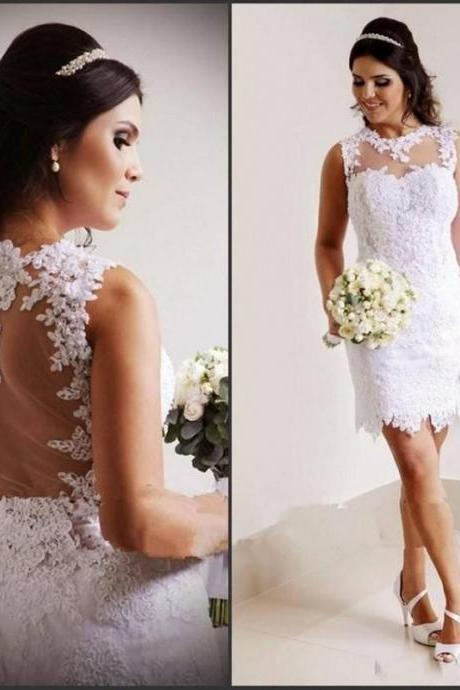 Short Wedding Dresses,Sheath Wedding Dresses,2016 Wedding Dresses,Sheer Neck Wedding Dresses,Real Photo Wedding Dresses,Backless Wedding Dresses,Bridal Gown