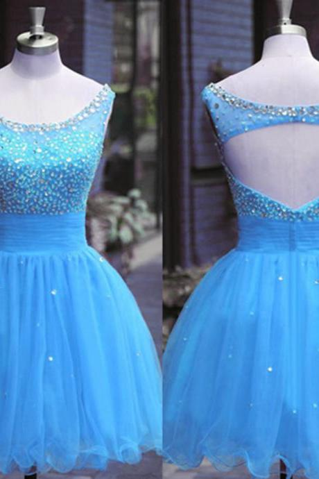 Homecoming Dresses,Graduation Dresses,Blue Homecoming Dress,Organza Homecoming Dress,Backless Homecoming Dress, Short Homecoming Dresses, Beaded Homecoming Dresses,Short Prom Dresses
