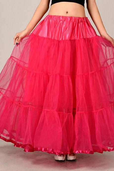 Fashion Rose Red Long Skirts Wedding Petticoat Summer Dress Long A Line Crinoline Underskirt Petticoats For Prom Dresses Tutu Skirts