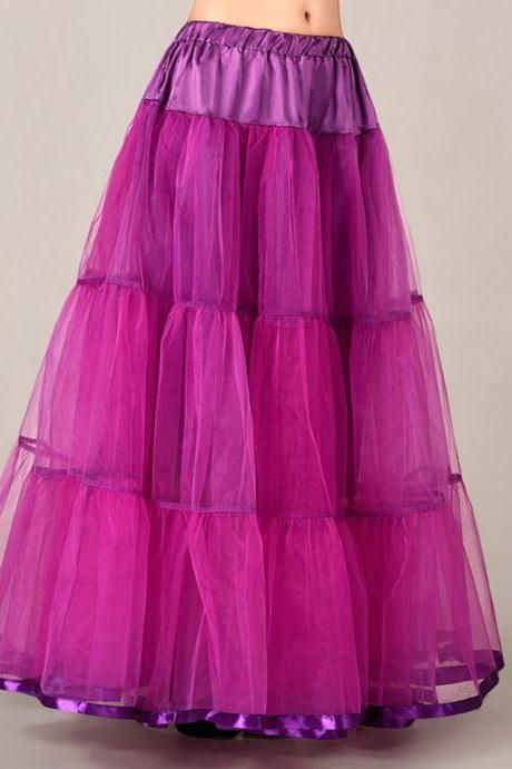 Fashion Fuschia Long Skirts Wedding Petticoat Summer Dress Long A Line Crinoline Underskirt Petticoats For Prom Dresses Tutu Skirts