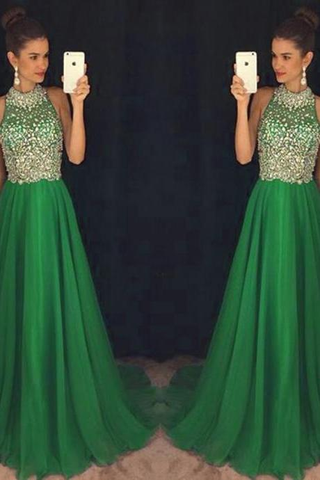 2016 Sexy Green Prom Dresses Long Elegant Beaded Chiffon Prom Party Evening Dress Robe De Soiree Formal Gowns