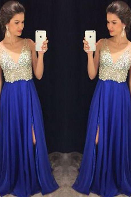 2016 Sexy V Neck Blue Prom Dresses Long Elegant Chiffon Prom Party Evening Dress Robe De Soiree Formal Gowns