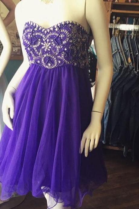 Short Purple Prom Dresses Homecoming Dresses Sweetheart Organza Evening Dress Robe De Soiree Formal Party Gowns