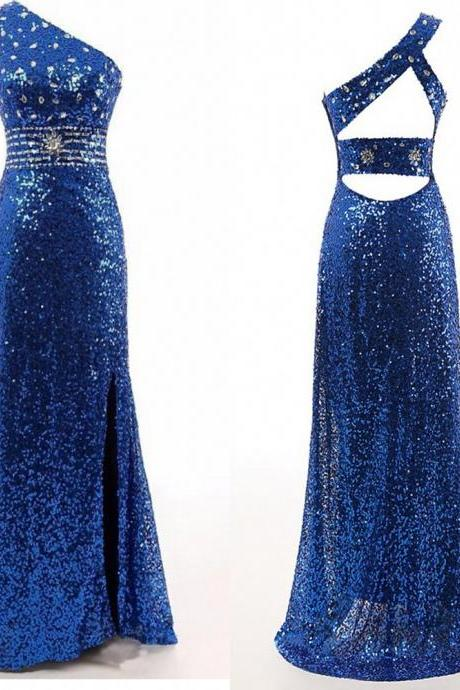 Blue Sequinned Floor Length Trumpet Evening Dress Featuring One Shoulder Bodice and Cutout Back