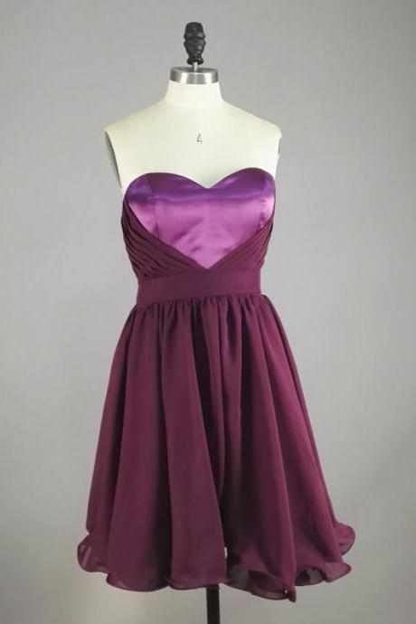 Short Prom Dresses, Short Evening Gowns,Grape Purple Dress,Chiffon Prom Dresses, Homecoming Dresses, Graduation Dresses,Cocktail Dressses