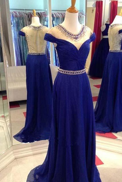 Evening Dresses 2016, Royal Blue Evening Dresses, Chiffon Evening Dresses, Evening Dresses,Evening Gowns,Backless Evening Dress, Red Carpet Dresses 2016,Long Prom Dresses, Formal Gowns,Party Dresses