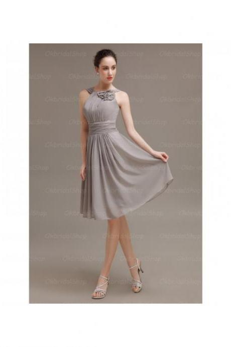 Custom Made Grey Chiffon Draped Bridesmaid Dress with Floral Applique