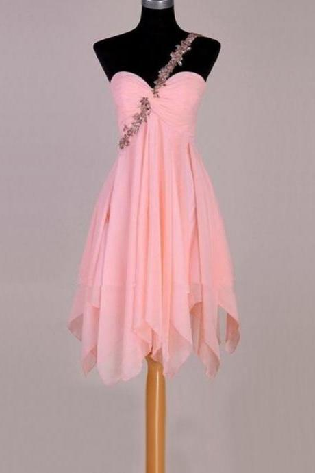 Custom Made Pink Crystal Embellished One-Shoulder Sweetheart Neckline Irregular Chiffon Formal Dress, Cocktail Dress, Evening Dress, homecoming Dress, Bridesmaid Dress