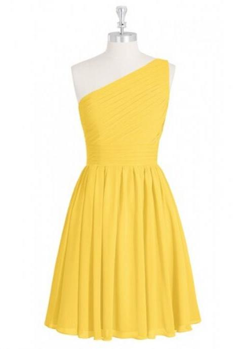 Yellow Bridesmaid Dress,Short Bridesmaid Dresses,Bridesmaid Dresses,One Shoulder Bridesmaid Dresses,Chiffon Bridesmaid Dresses,Cheap Bridesmaid Dresses