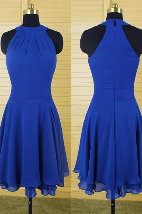 Royal Blue Bridesmaid Dress,Short Bridesmaid Dresses,Bridesmaid Dresses,Halter Bridesmaid Dresses,Chiffon Bridesmaid Dresses,Sexy Bridesmaid Dresses