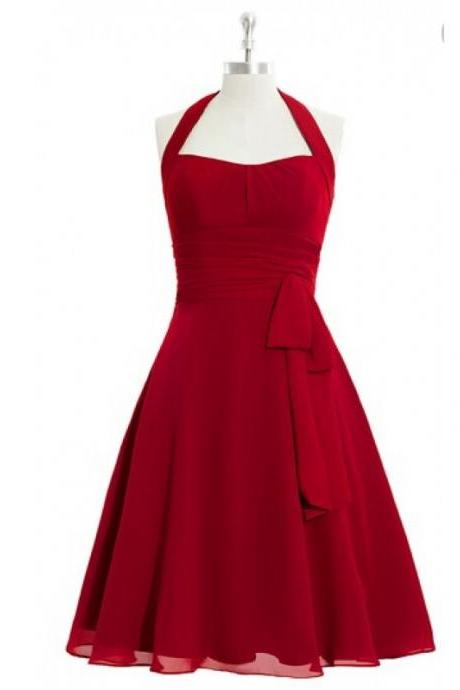 Tea Length Bridesmaid Dress,Bridesmaid Dress,Bridesmaid Dresses,Halter Bridesmaid Dress,Red Bridesmaid Dresses,Chiffon Bridesmaid Dresses,Sexy Bridesmaid Dresses