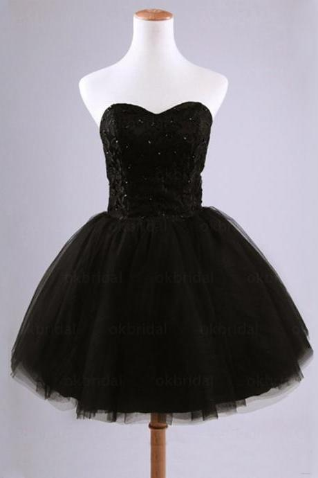 Pretty Lace A-Line Short Black Prom Dress, Mini Tulle Prom Dresses, Homecoming Dresses, Graduation Dresses