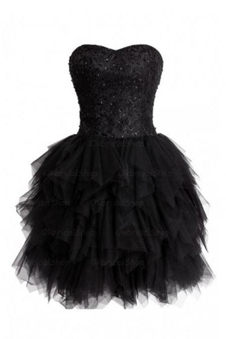Sexy Short Tulle Sweetheart Prom Dresses, Short Black Prom Dresses, Homecoming Dresses, Graduation Dresses