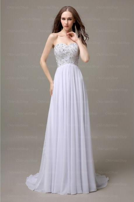 Lovely White Chiffon Sweetheart Crystal Prom Gown, Prom Gowns 2016, Formal Dresses 2016