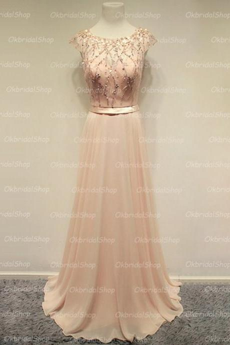 Prom Dress,Champagne Prom Dresses,Sexy Sheer Neck Beaded Prom dresses,Custom Made Prom Dress,Long Elegant Prom Dresses,2016 Prom Dresses,Prom Dresses
