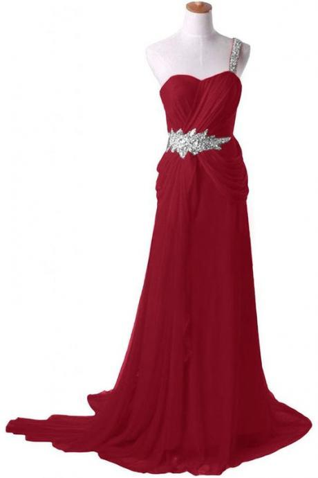 Red One-Shoulder Sweetheart Neckline Floor Length Formal Dress Featuring Beaded Embellishment, Prom Dress