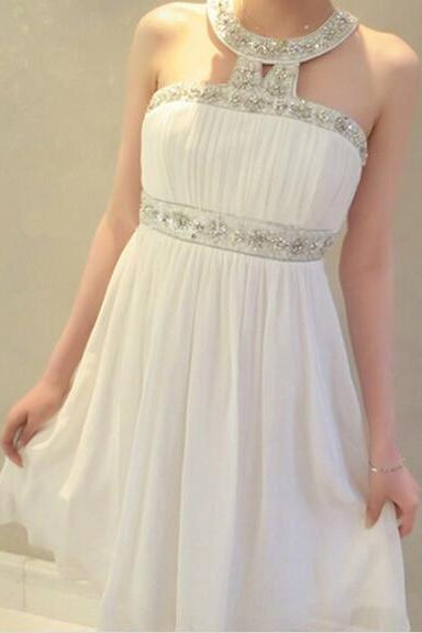 prom dresses,Short White Prom Dresses,Chiffon Prom Dresses,2016 Cheap prom dresses,Short White Evening Dress,Graduation Dresses, Homecoming Dresses, Cocktail Dresses,Formal Gowns