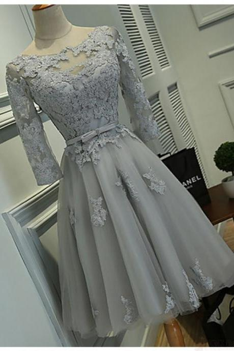 Prom Dress,Homecoming Dresses, Cocktail Dresses, Long Sleeve Prom Dress,Gray Prom Dress,Short Prom Dresses,Custom Made Prom Dresses,Sexy Prom Dress,2016 Prom Dresses