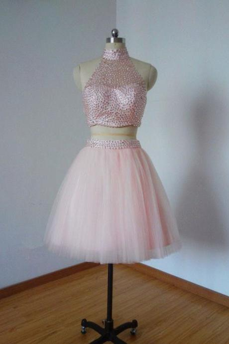 Prom Dress,Homecoming Dresses, Cocktail Dresses, 2 Piece Prom Dress,Pink Prom Dress,Short Prom Dresses,Custom Made Prom Dresses,Sexy Prom Dress,2016 Prom Dresses