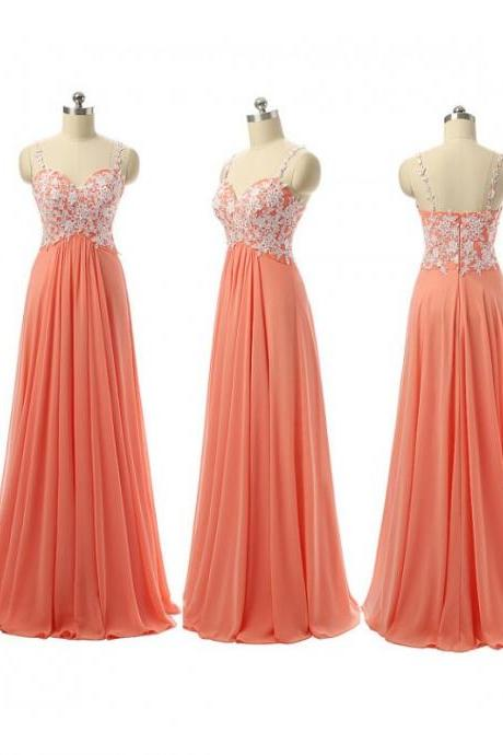 Elegant V Neck Orange Bridesmaid Dresses, Beautiful Floor Length Bridesmaid Dresses, Wedding Party dresses,Formal Gowns,Prom Dresses,Evening Gowns