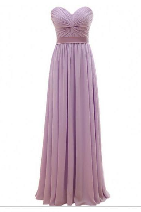 Purple Floor Length A-Line Chiffon Pleated Bridesmaid Dress Featuring Ruched Sweetheart Bodice