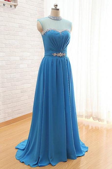 Prom Dress,Prom Dresses 2016,Blue Prom Dresses,A Line Prom Dress,Beaded Evening Gowns,Party Dress,Chiffon Prom Dress,Long Prom Dresses,2016 Prom Dresses,Prom Dresses