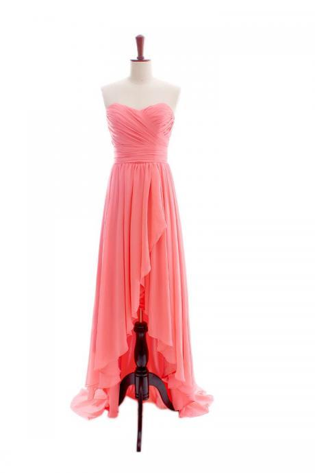Fashion Chiffon High Low Coral Sweetheart Prom Dresses,Sexy Front Short And Long Back Evening Gowns