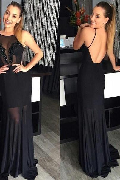 Sexy Black Backless Chiffon Illusion Neckline Prom Dresses ,2016 Long Chiffon Evening Gowns