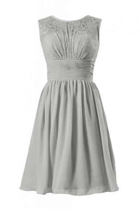 Sexy Gray Chiffon Sheer Neck Ruched Homecoming Dress With Lace Bodice, Sexy Short Chiffon Prom Dressses