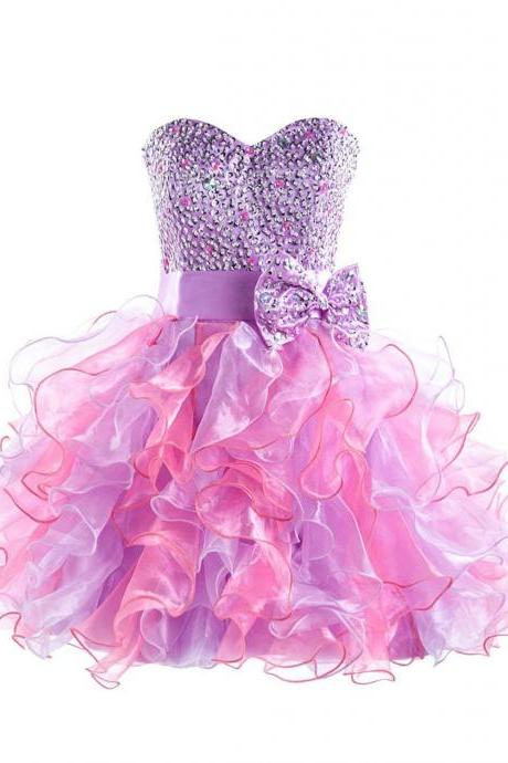 Colorful Sweetheart Organza Homecoming Dresses With Beaded Bodice, Sexy Short Strapless Prom Dressses