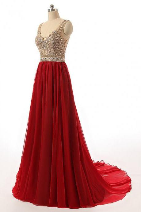 Elegant V Neck Red Beaded Bridesmaid Dresses, Beautiful Floor Length Backless Chiffon Prom Dresses, Wedding Party dresses,Formal Gowns