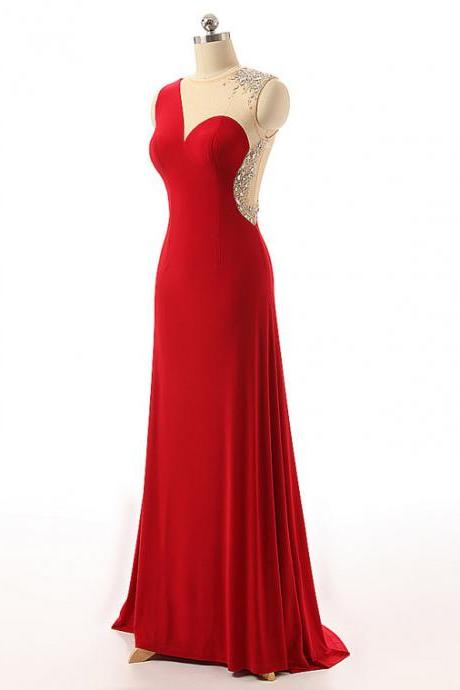 Red Chiffon Prom Dresses Illusion Jewel Neckline Crystal Sheer Beck Formal Dresses Sexy Beaded Evening Gowns