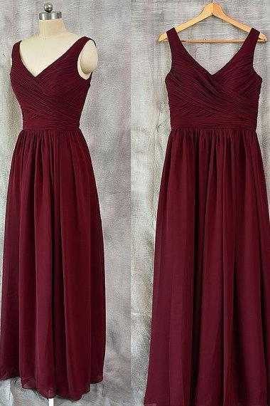 Simple Long Burgundy Chiffon V Neck Formal Dresses - Evening Gowns, Prom Dresses
