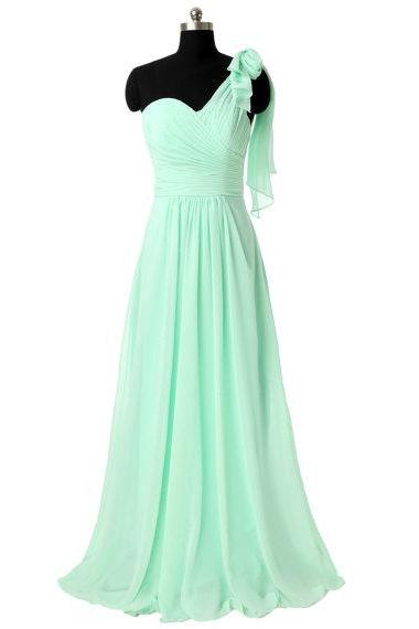 Elegant One Shoulder Mint Green Evening Dresses, A Line Chiffon Prom Gowns - Formal Gowns, Party Dresses