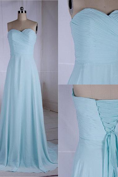 Light Blue Prom Dresses,Prom Dress,Simple Ruched Prom Gowns,Charming Sweetheart Chiffon Prom dresses,Custom Made Prom Dress,Long Elegant Prom Dresses,2016 Prom Dresses,Prom Dresses